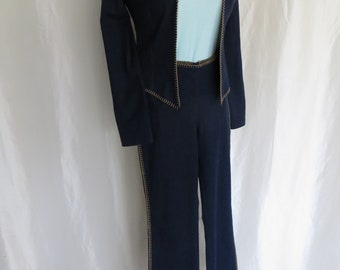 Vintage 90s womens pants suit, cotton spandex denim, bell bottom pants, western style, new old stock, Equestrian, sise S M