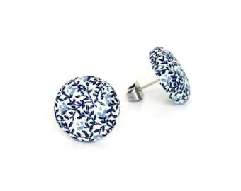 Vintage style stud earrings - blue white fabric button earrings - tiny porcelain look earrings - nickel free - something blue - cute gift