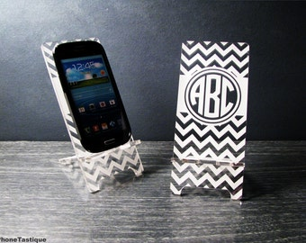 Samsung Galaxy S3, S4, S5,  Personalized Custom Chevron Monogram Acrylic Phone Stand Docking Station