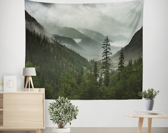 Mountain Wall Tapestry, Scenic Mountains Tapestry, Scenic Tapestry, Wanderlust Tapestry, Forest Mountain Bedroom Decor, Forest Tapestry
