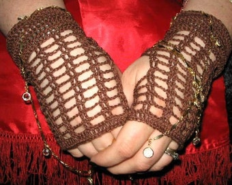 Crochet Lace Fingerless Gloves in Brown  Steampunk Victorian