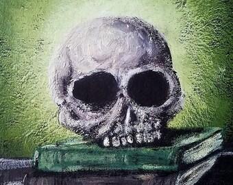 Skull on Books Magnet