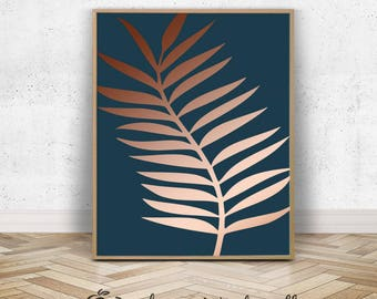 Palm Frond Art | Large Leaf Rose Gold Art Print | Turquoise Wall Art | Modern Tropical Artwork | Pink Green Botanical Download | Copper