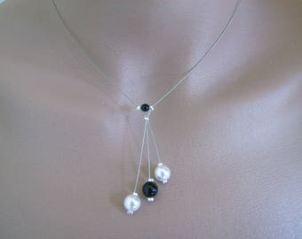 Necklace black and white (or ivory) p (cheap cheap) pearls bridal/wedding/evening/Cocktail/ceremony/new year's Eve dress