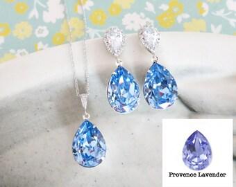 Sandra- Provence Lavender Purple Swarovski Crystal Teardrop Cubic Zirconia Teardrop Earrings Necklace Set, Bridesmaid Bridal Jewelry Wedding