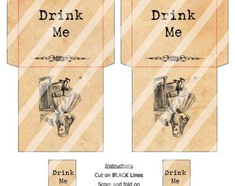 Printable Tea Bag Envelopes Alice In Wonderland Drink Me