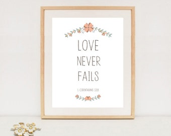 Love Never Fails   Bible Verse Printable Art, Christian Wall Decor Poster,  Inspirational Quotes