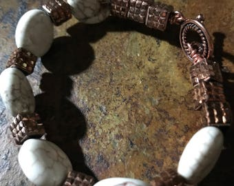 Bronze Mountain Bracelet - Handmade Gifts for Her - Bronze and Marble Tone Beads