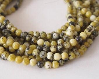Strand Gemstone Yellow Turquoise Beads Size 6mm Quantity 62 Beads