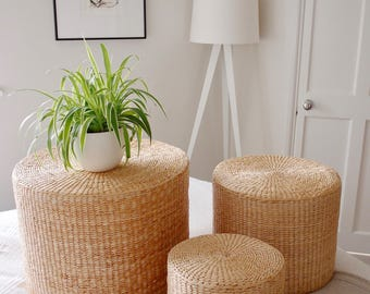 Family Round Nest or Side Coffee Tables Scandinavian Rustic Farmhouse Footstool with storage minimal Scandinavian