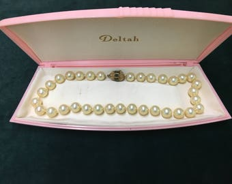 """Off white 16"""" knotted vintage simulated pearls"""