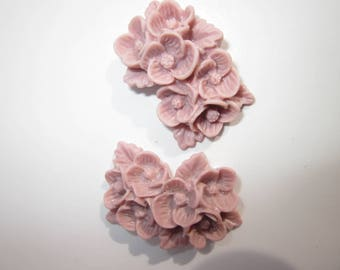 2 bunches of flowers in resin 18X25mm old pink
