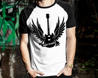 Mens baseball Tee with print Born to rock band shirt festival t-shirt graphic tee white black S M L XL XXL