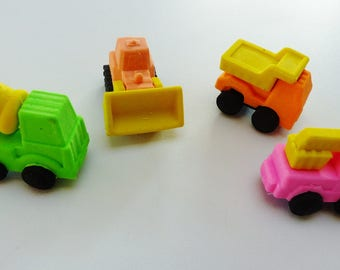 Set of 4 erasers work truck crane supply kit concrete fun gear
