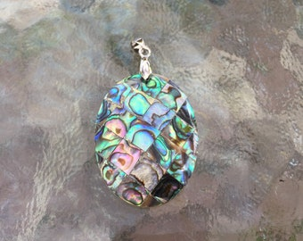 Natural abalone shell and mother of pearl mixture pendant with pinch bail, hand made, 2 x1 inch