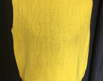 Vibrant yellow sleeveless top/knit/60's