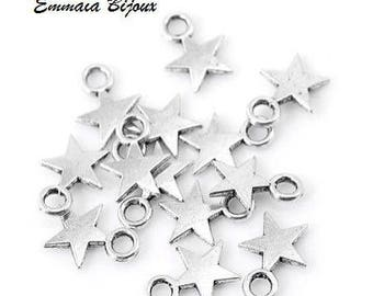 30 small star silver metal charms