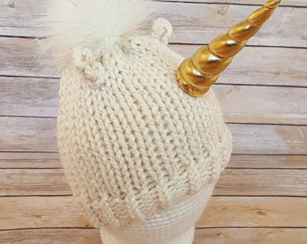 Cream Gold Unicorn Hat, Unicorn Hat, Knitted Unicorn Hat, Knit Unicorn Hat, Knit Unicorn Beanie, Unicorn Lover Hat, Cosplay Unicorn Hat