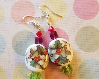 One of a kind Christmas color earrings