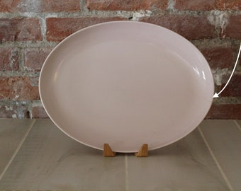 Russel Wright Iroquois Casual 14 Inch Oval Platter Pink Sherbet, Russel Wright, Pink Platter, 1950s, Iroquois Casual