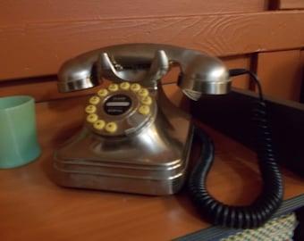 "Original  Vintage ""GRAND PHONE "" Desktop Telephone  Brushed Metal"