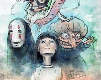 Miyazaki's Spirited Away Watercolor Digital Painting - signed museum quality giclée fine art print