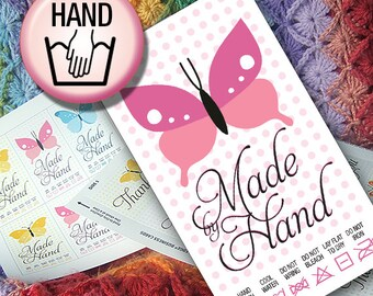 DIY Printable Laundry Care Tags Butterflies and Polka Dots