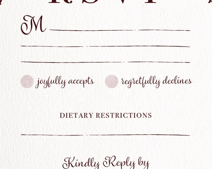 PRINTABLE - Burgundy Rustic Classic Wedding RSVP, Simple, Distressed, Textured, Monogram