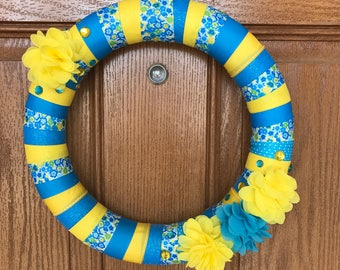 Blue and Yellow Wreath / Blue and Yellow Door Wreath / Blue and Yellow Flower Wreath / Yellow Ribbon Wreath / Blue Ribbon Door Wreath