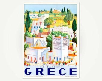 Grece Ile d'Andros Travel Poster Print - Greek Isle Travel Poster - Adros Island Poster Art - Vintage Greece Tourist Poster