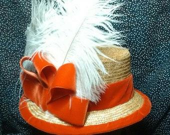 Civil War Era Straw Hat - Hand Sewn by Anna Worden Bauersmith
