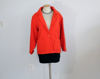 1980s Pumpkin Orange Wool Avon Jacket // Small or Medium