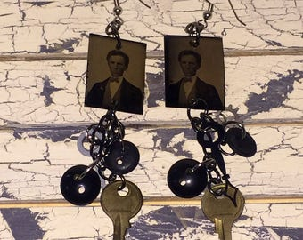 Victorian Steam Punk Inspired Antique Gem Tin Type Photo Dangle Earrings Key Clock Hand Bakelite Button Gina's Creations Original Oddities