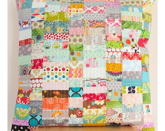 Patchwork pillow cover , Handmade patchwork, Quilted pillow cover, colorful cushion, one of a kind throw pillow cover