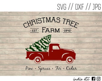 Christmas Tree Farm with Red Truck and Tree Digital Art File (svg, dxf, jpeg)