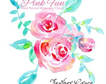 watercolor magnolia leaves wedding flowers clip art rh etsy com Wedding Bouquet of Flowera Cartoon Wedding Bouquet