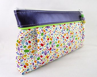 Makeup, purse Tote fabric multicolored pellets and faux leather purple