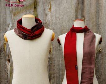 Silk scarf or silk loop, scarf, tube scarf, loop, silk, silk, raw, claret-brown violet, red-brown, two-color