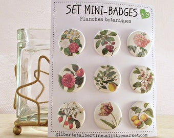 Mini badges 25 mm / 'flowers botanical print.