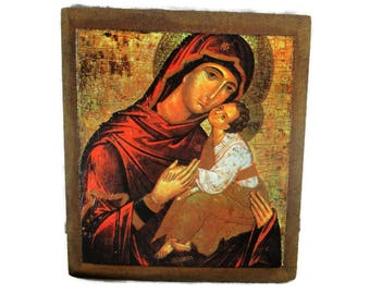 Religious Icon Virgin Mary Infant Child Print on Wood Abbey Dendermonde Lovely