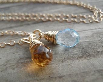 Birthstone Gold Necklace, Birthstone Jewelry, Custom Mothers Day Gift, Gemstone Necklace, Personalized Gift, Topaz Citrine, Emerald Peridot