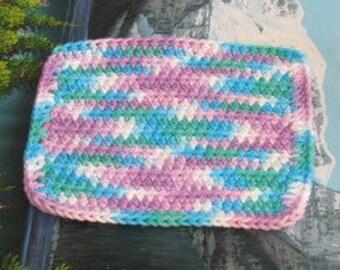 Hand crochet cotton dish cloth 7.5 by 7.5 cdc 142