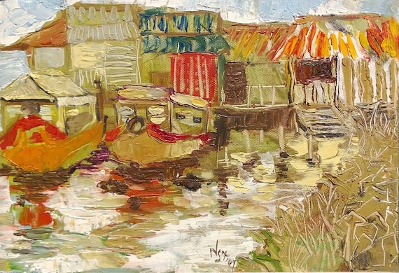 """RIVER PARKING 16x10"""" textured oil on canvas, live painting, Mekong Delta (Cần Thơ Province), original by Nguyen Ly Phuong Ngoc"""