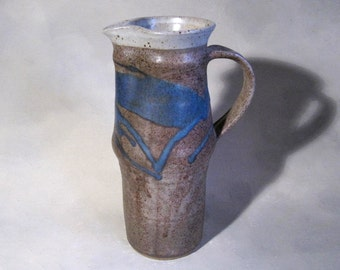 early Marc Hansen, tall pitcher, Vintage Studio Pottery