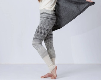 Gradient knit leggings for woman / adult knit pants / ombre leggings / slim fit knitted pants / gray charcoal white / warm woman leggings