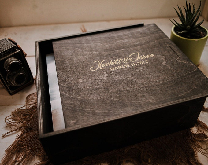 12.5x12.5x5 Wood Album Box (NO area for USB)