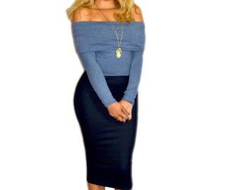 Deep Blue Denim Knit Skirt