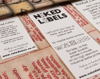 100 x Wash Care labels custom sew-in labels custom fabric labels - Performance Nylon for textile with FREE cutting
