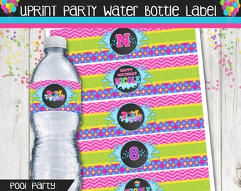 Personalized Pool Party Water Bottle Labels - Printable