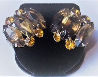 Vintage Silver Tone Topaz and Yellow Rhinestone Clip On Earrings